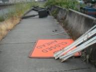 Sidewalk closed ahead