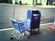 shopping cart and mail box